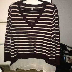 Striped Two-fer Sweater